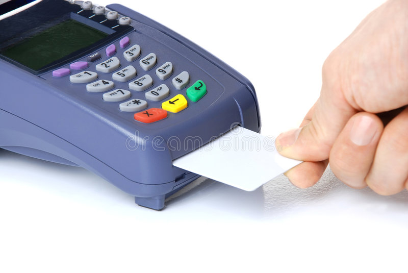 The terminal with a pure credit card. Payment on a credit card through the terminal stock image