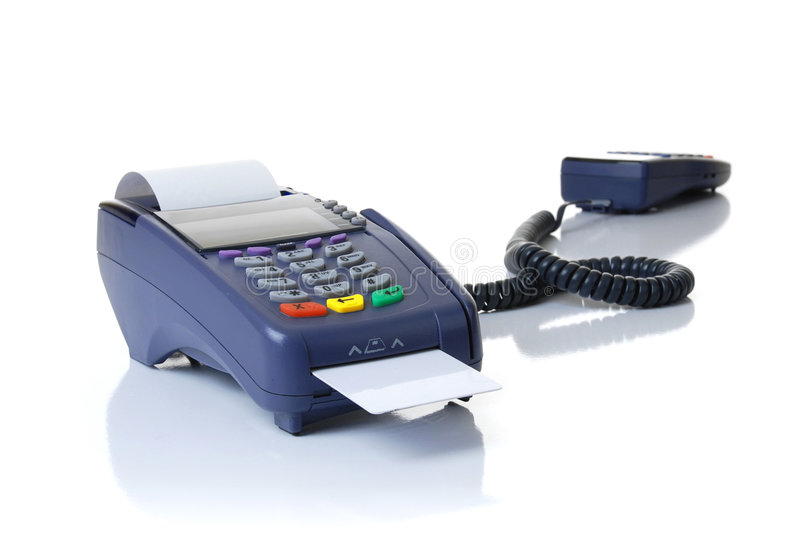 The terminal with a pure credit card. Payment on a credit card through the terminal stock images