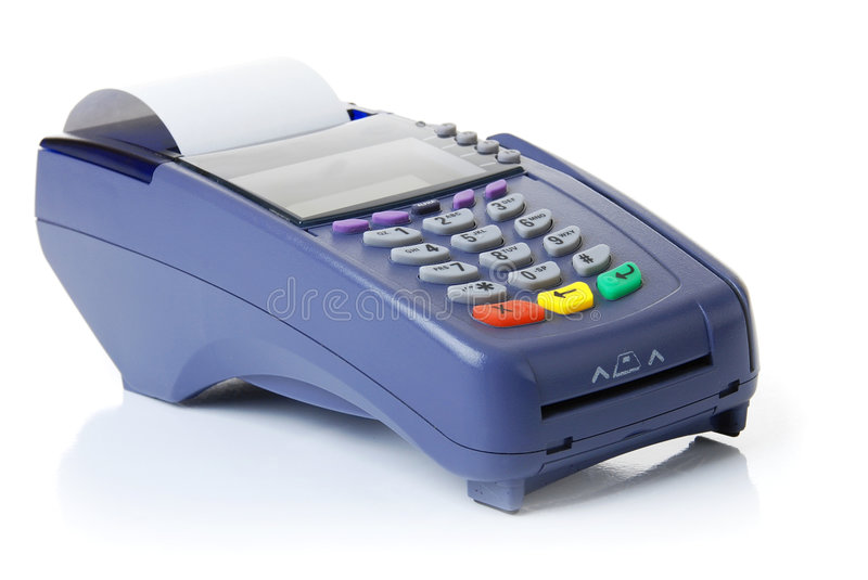 The terminal with a pure credit card. Payment on a credit card through the terminal royalty free stock photos