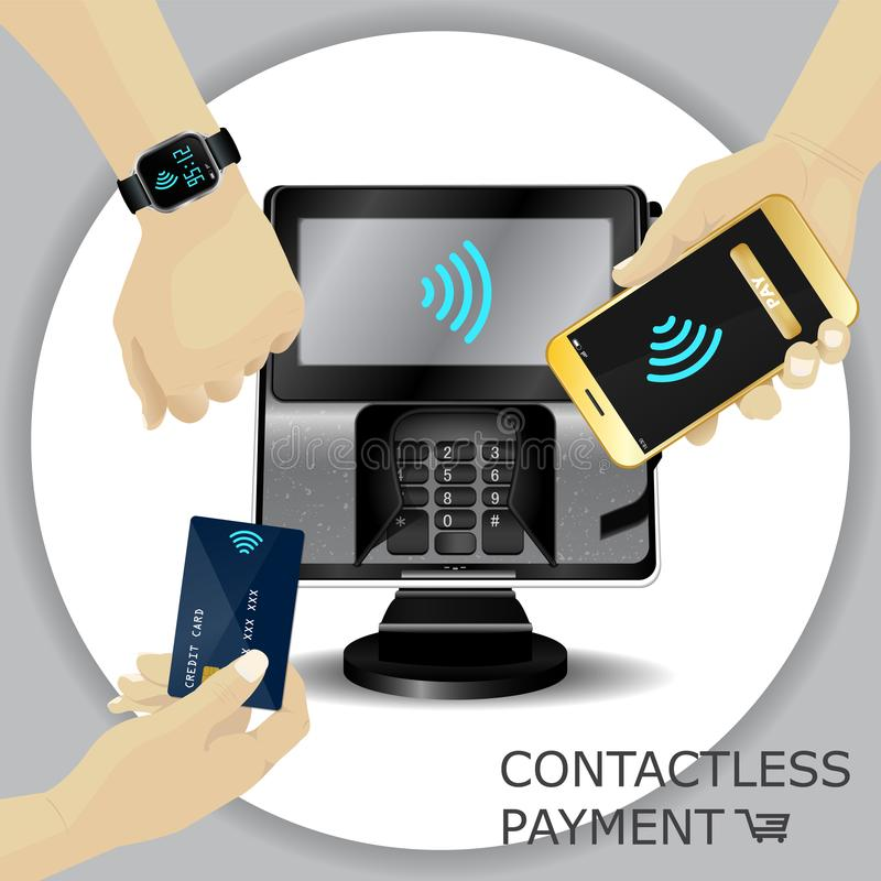 Terminal sem contato da transação do pagamento com exposição e pinpad ilustração do vetor
