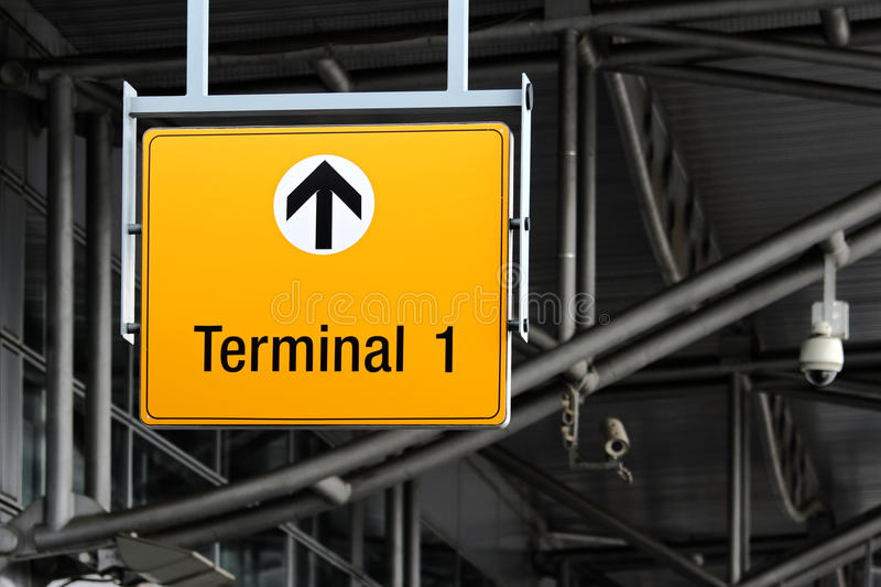 terminal sign on airport hall stock photos