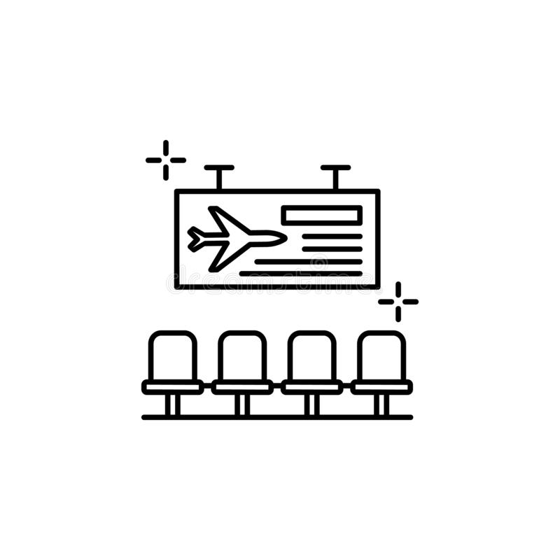 Terminal, signboard, airport icon. Element of airport line color icon. On white background royalty free illustration