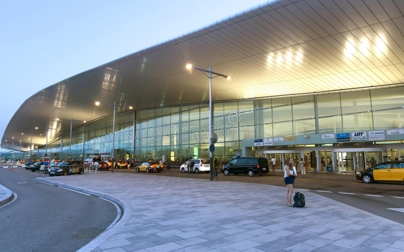Terminal T1 of El Prat-Barcelona airport. BARCELONA, SPAIN - JULY 16, 2015: Terminal T1 of El Prat-Barcelona airport. This airport was inaugurated in 1963 royalty free stock photo