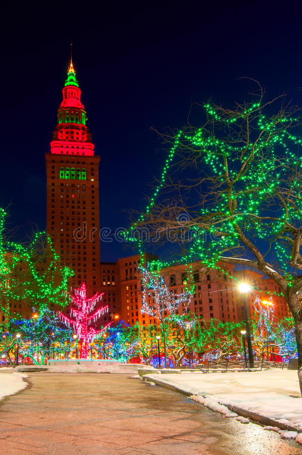 The Terminal Tower And Public Square In Cleveland Ohio Lit Up Brightly For  Christmas