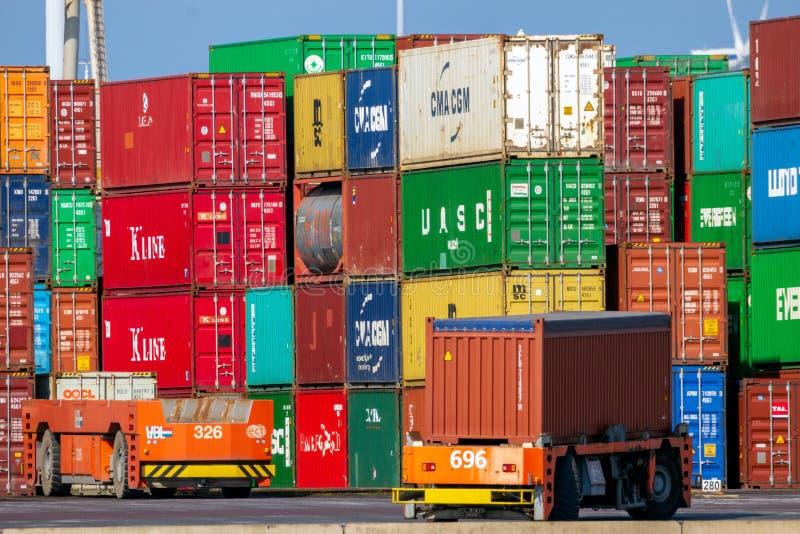 Terminale automatizzato del porto dei contenitori del mare del veicolo immagini stock libere da diritti