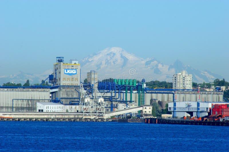 Terminale del grano di UGG a Vancouver orientale con il panettiere del supporto dietro immagine stock libera da diritti