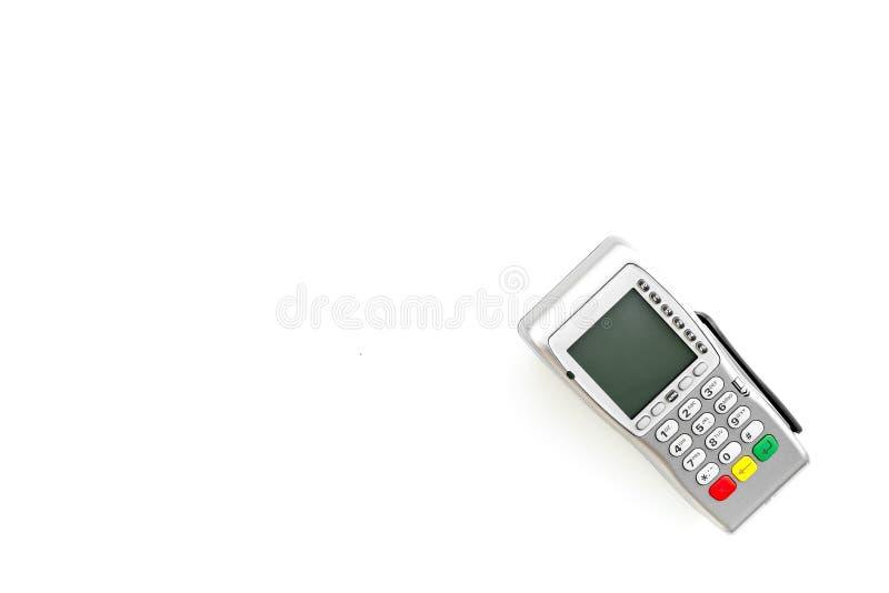 Terminale di pagamento, terminale compatto di posizione sullo spazio bianco di vista superiore del fondo per testo fotografia stock