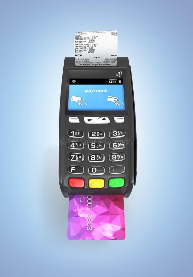 Terminale di posizione del terminale di pagamento della carta con la carta di credito e ricevuta isolata sul fondo blu 3d di pend royalty illustrazione gratis