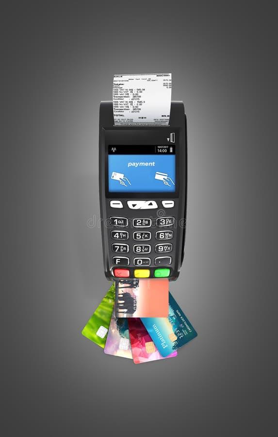 Terminale di posizione del terminale di pagamento della carta con le carte di credito e la vista superiore della ricevuta isolato illustrazione di stock