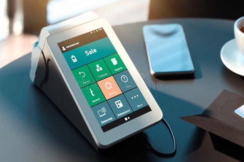 Terminale e telefono cellulare di pagamento di posizione concetto di pagamenti del nfc rappresentazione 3d immagini stock libere da diritti