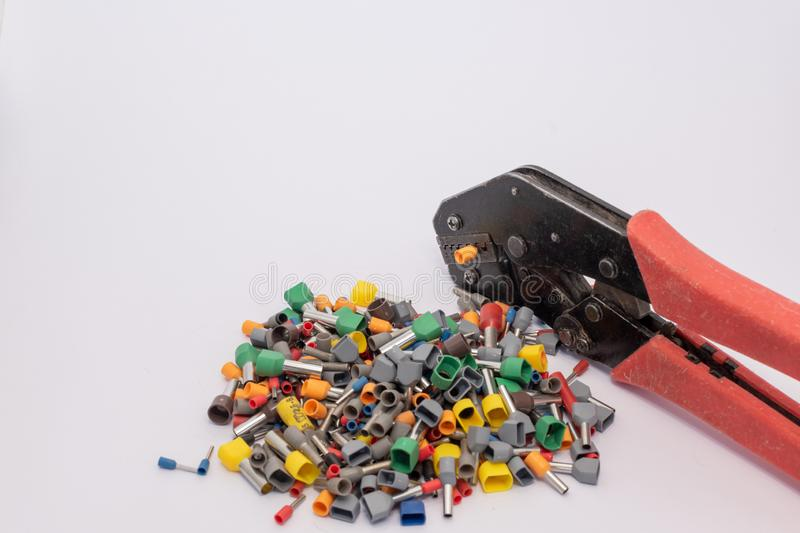 Terminals for electric conductors in d ifferent sizes royalty free stock photos