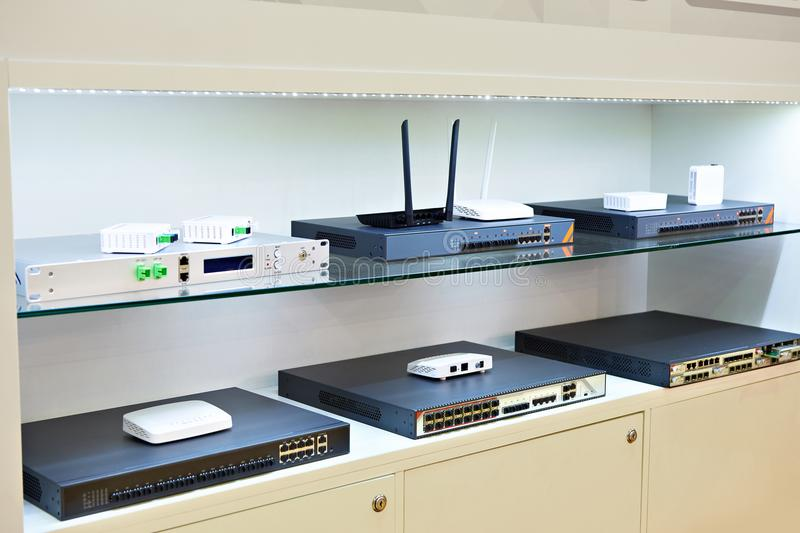 Terminals, switches and routers for optical cable networks in st stock photos