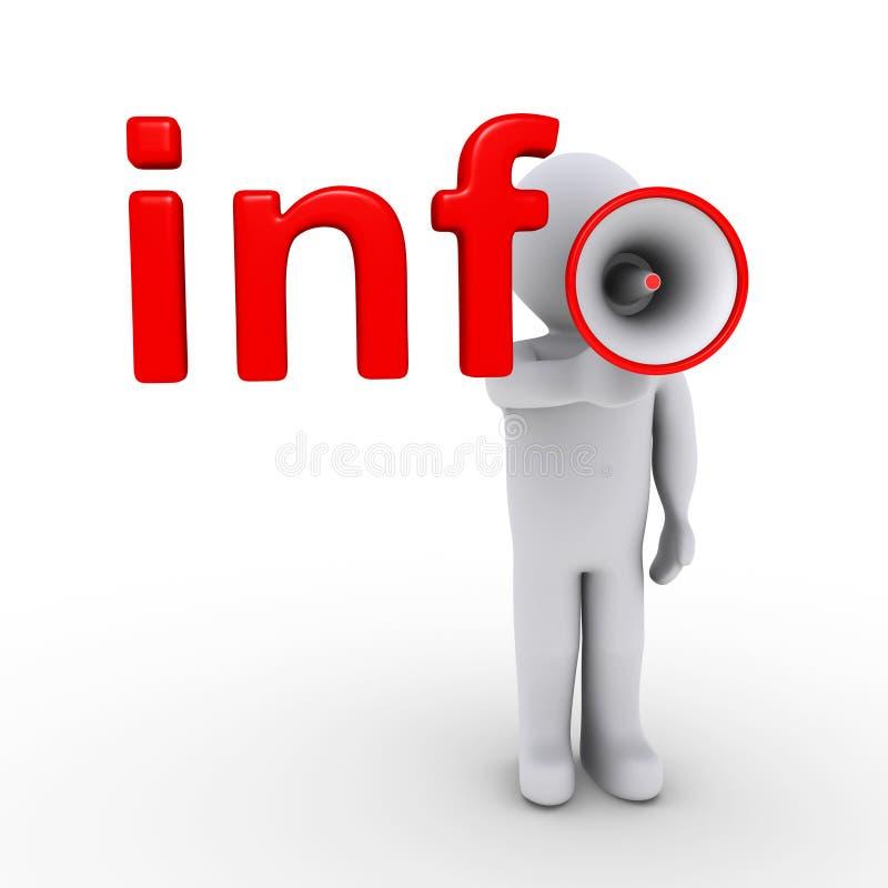Terminando a informação com megafone ilustração stock