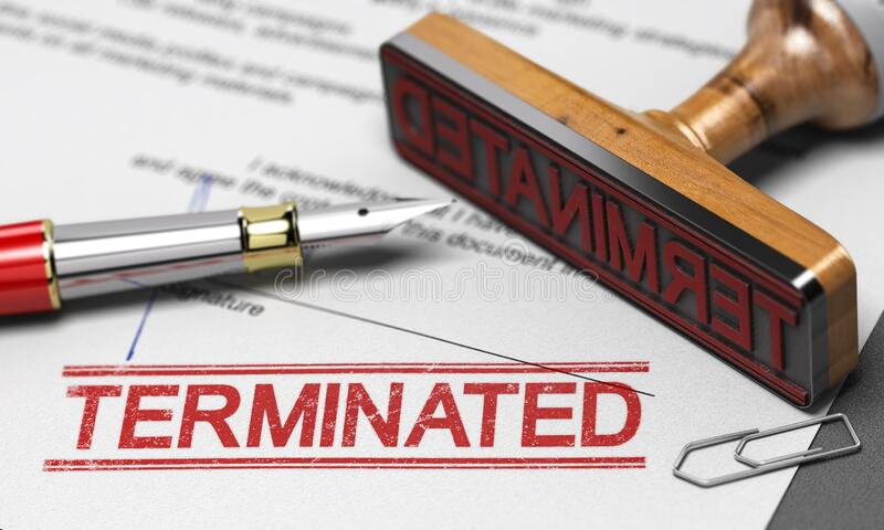 Termination of contract agreement. Word Terminated printed on a document stock images