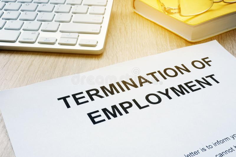 Termination Of Employment On A Desk Stock Photo  Image Of