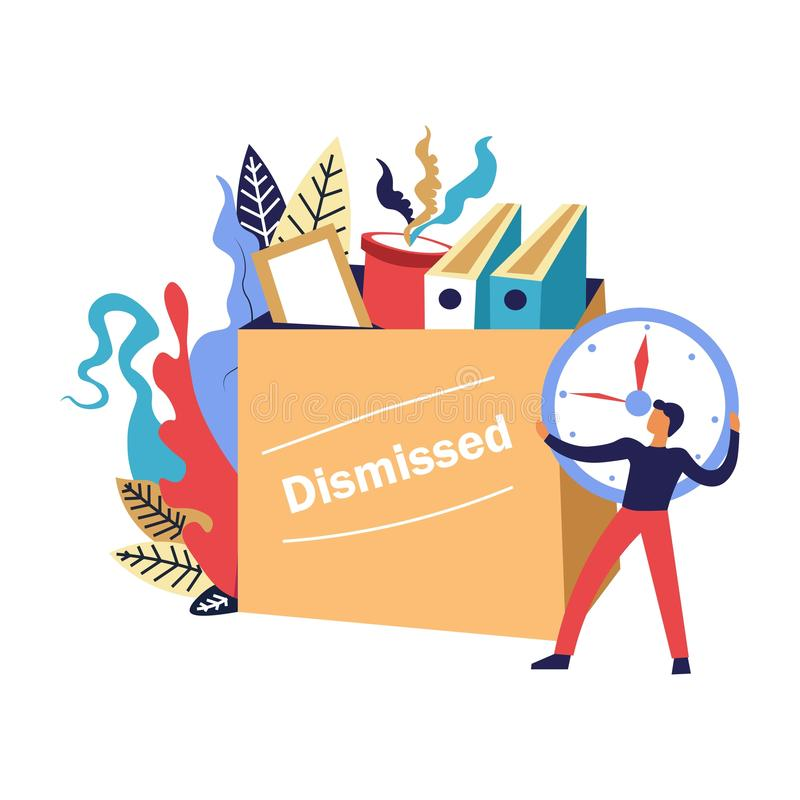 Termination of employment, dismissed person collecting his staff from office royalty free illustration