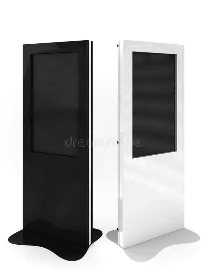 Terminaux noirs et blancs de l'information avec la plaque photos stock