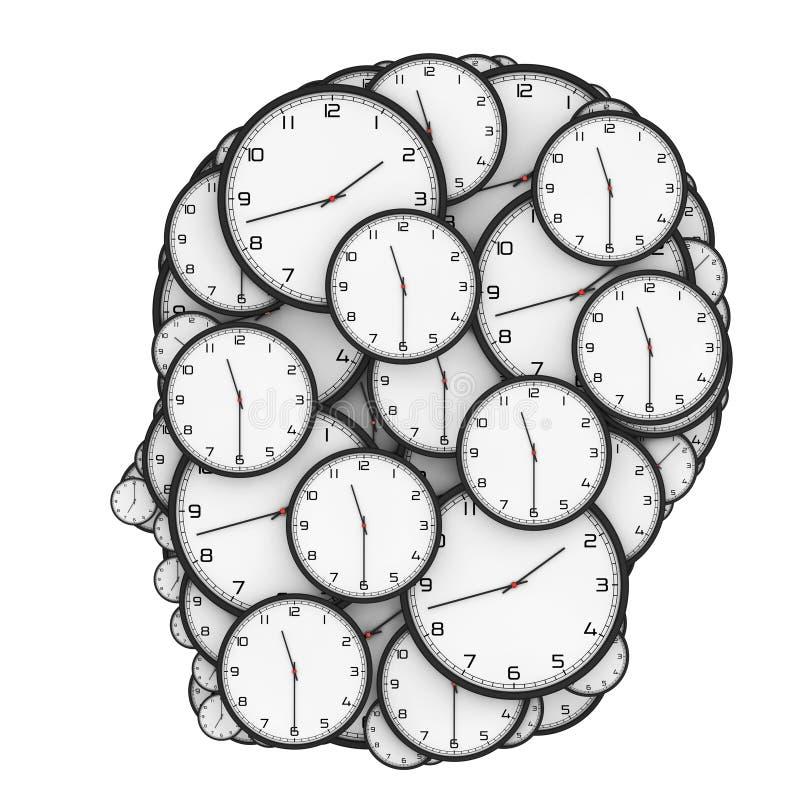 Termindruckkonzept Moderne Uhren geformt als menschlicher Kopf vektor abbildung