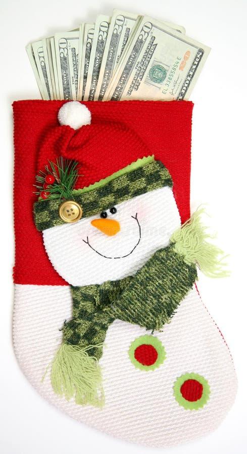 Termine el calcetín vertical del muñeco de nieve imagen de archivo