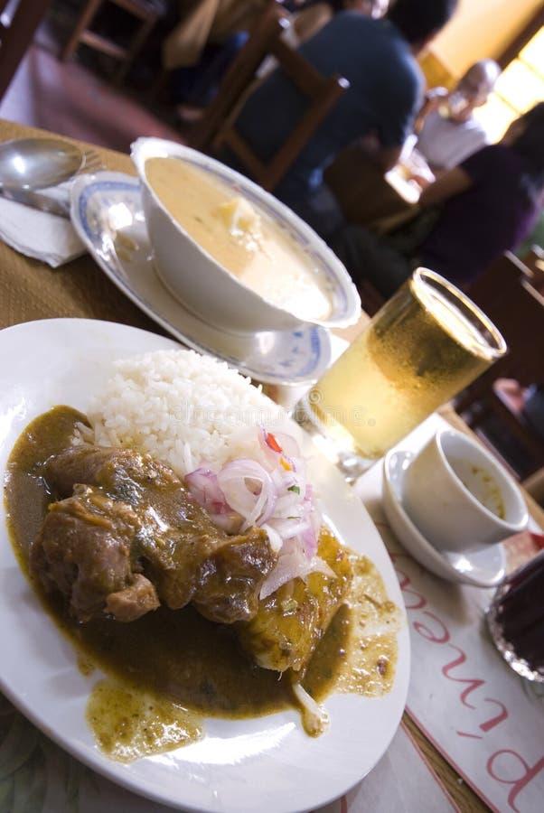 Termine el restaurante especial de Lima Perú del almuerzo foto de archivo libre de regalías