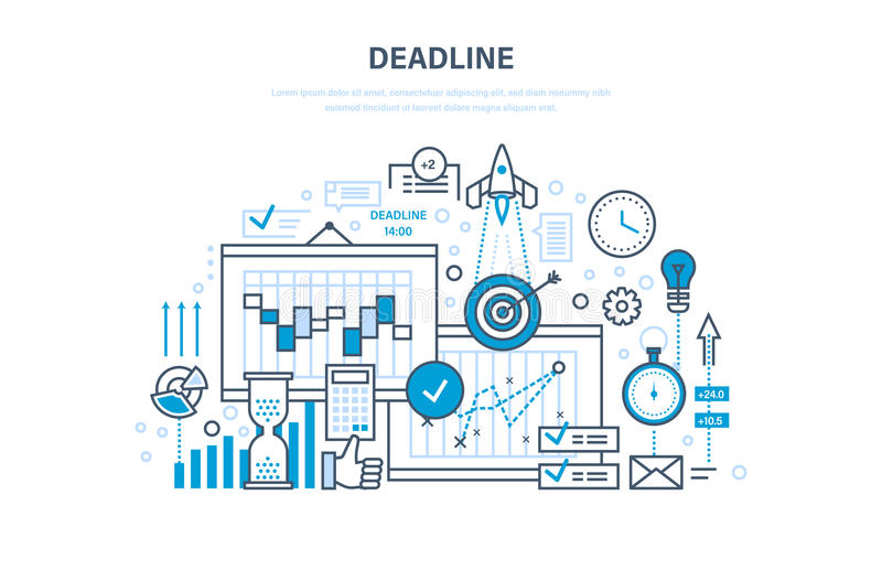 Termine, gestione di progetti, pianificazione, termini di implementazione, gestione di tempo, controllo dei processi royalty illustrazione gratis