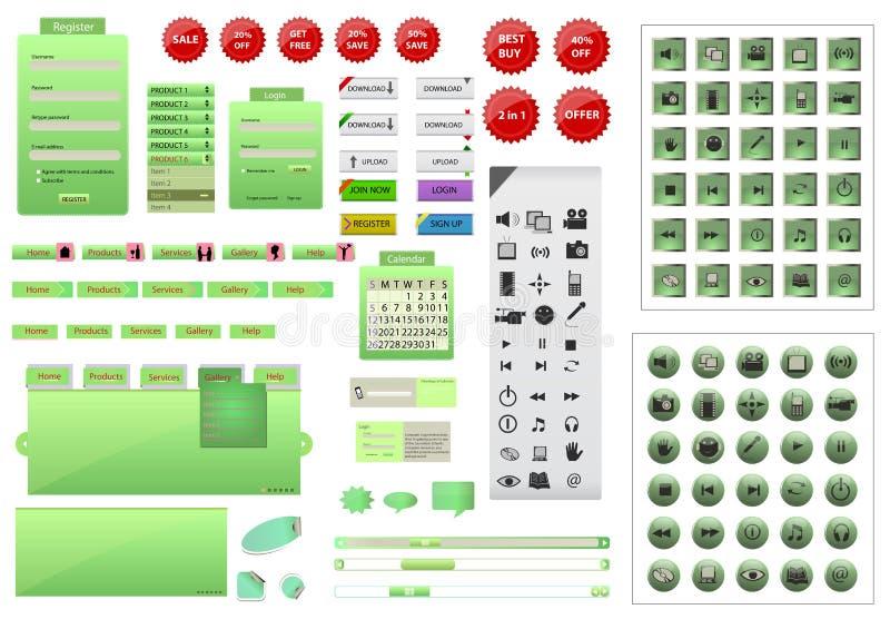Termine o grupo de elemento verde do projeto do Web site ilustração stock