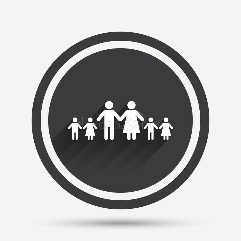 Termine a la familia grande con la muestra de muchos niños ilustración del vector