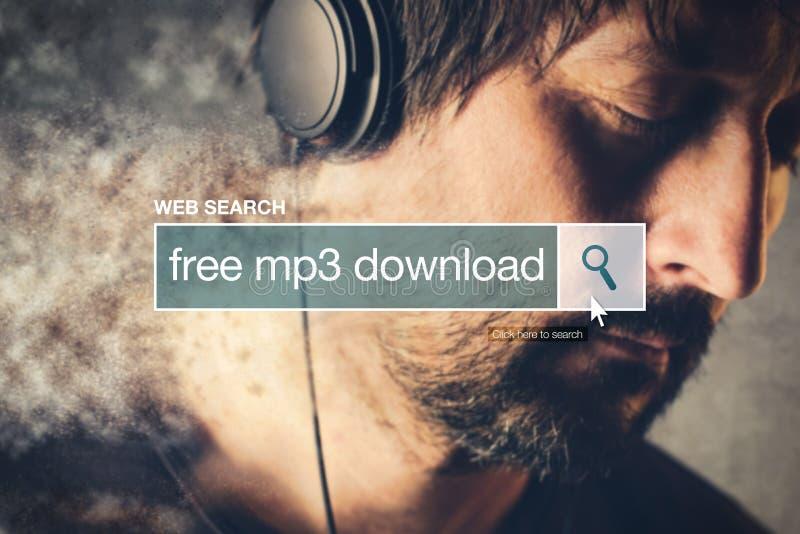 Termine libero del glossario della barra di ricerca di web di download mp3 fotografia stock