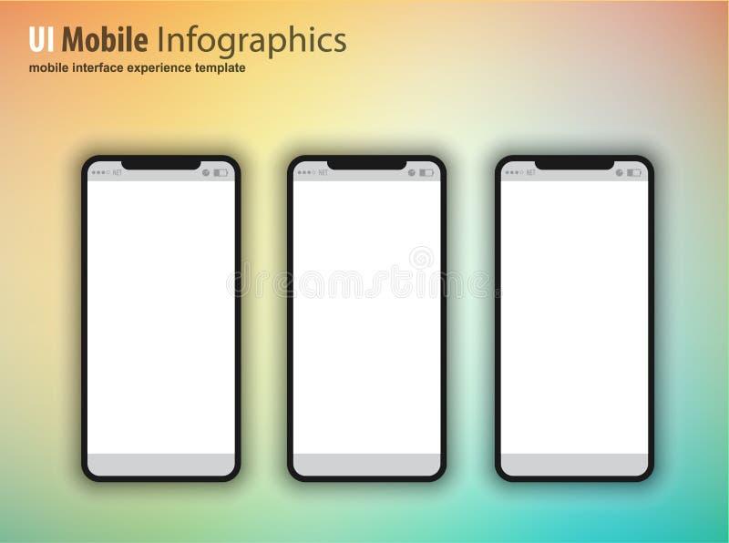Termine los teléfonos móviles incluidos familia del dispositivo de la siguiente generación, t stock de ilustración