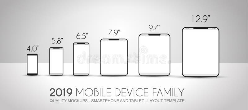 Termine los teléfonos móviles incluidos familia del dispositivo de la siguiente generación, t ilustración del vector
