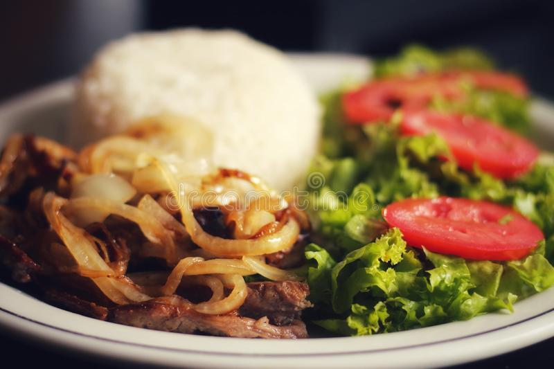 Termine o almoço brasileiro imagens de stock