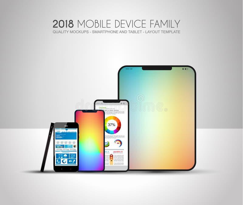 Termine os telefones celulares incluídos família do dispositivo da próxima geração, t ilustração stock