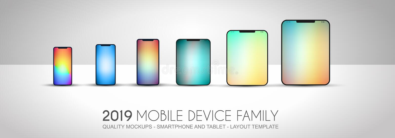 Termine os telefones celulares incluídos família do dispositivo da próxima geração, t ilustração royalty free