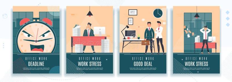 Termine, stress da lavoro, insieme piano dell'insegna di buon affare illustrazione di stock