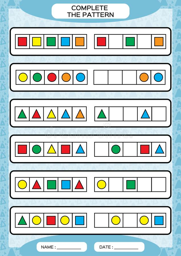 Termine testes padrões de repetição simples Folha para crianças prées-escolar Habilidades de motor praticando, melhorando tarefas ilustração stock