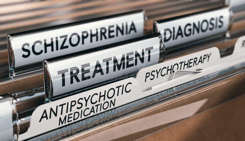 Termini di salute mentale, diagnosi di schizofrenia e trattamento con il farmaco antipsicotico e la psicoterapia illustrazione vettoriale