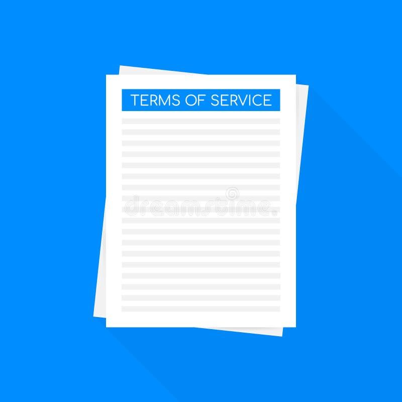 Termini di servizio Icona del documento Vista superiore Termini di uso, concetti di termini e condizioni generali Illustrazione d illustrazione vettoriale