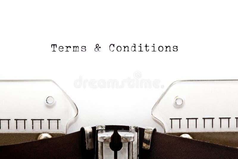 Termini e condizioni generali sulla macchina da scrivere fotografia stock
