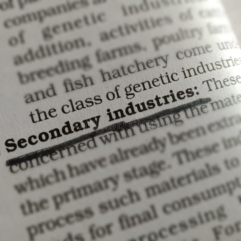 terminologie relative aux industries secondaires affichée sur papier photo libre de droits