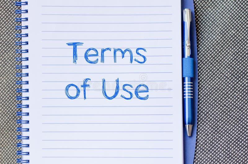 Terminy use piszą na notatniku zdjęcie stock