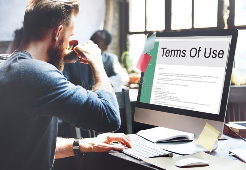 Terminy Use warunków reguły polisy przepisu pojęcie zdjęcie stock