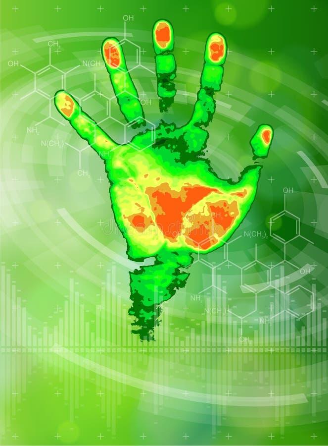 Termiskt handtryck, kemiska formler, radiella HUD beståndsdelar & grön bokeh stock illustrationer