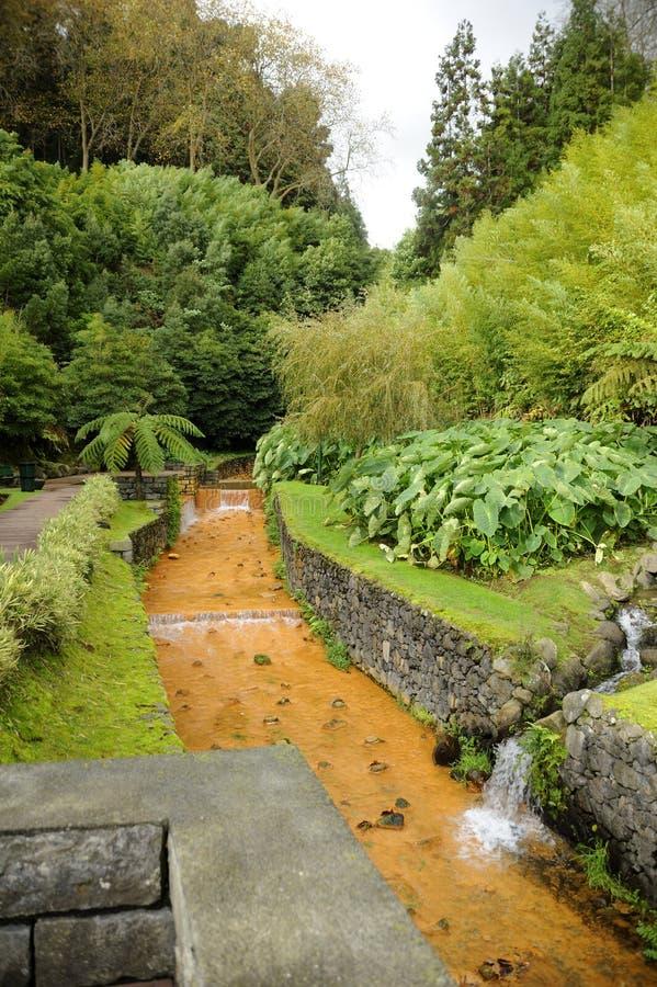 Termiskt vatten i Azoresna arkivbilder