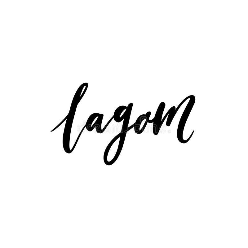 Termo escandinavo A palavra Lagom do sueco traduz como o equilíbrio, moderação, apenas direito ilustração stock