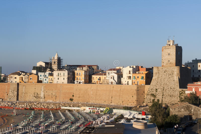 Termoli (Molise, Italy) - Old town and beach stock images