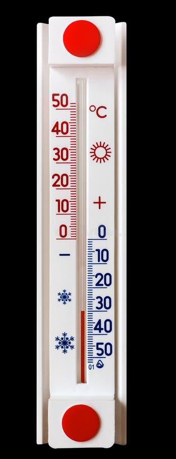 Termometer för mätning av lufttemperaturen visar minus 30 grader Mycket kallt väder Termometer på svart isolerad bakgrund_ arkivbild