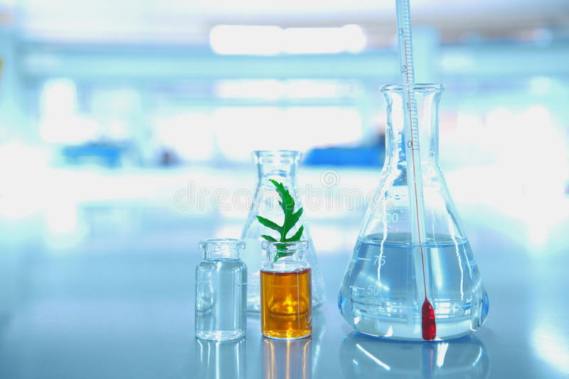 Termometer i glass flaskaliten medicinflaskaforskning på klimatförändring i sc royaltyfri bild