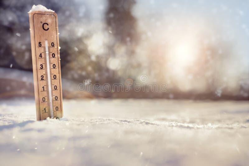 Termometer i snowen royaltyfria bilder