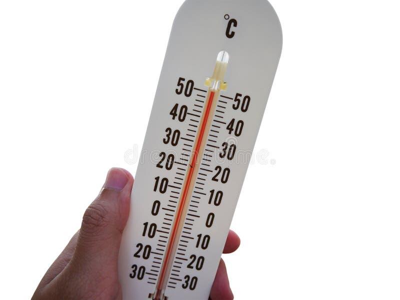 Termometer med varm temperatur som isoleras på vit royaltyfria bilder