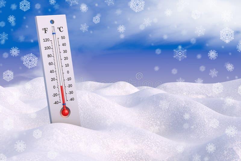Termometer och snöflingor vektor illustrationer